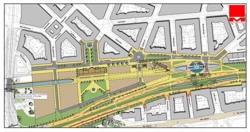 Urbanistická studie s vybudovaným Městským okruhem na Hradčanské a Dejvicích