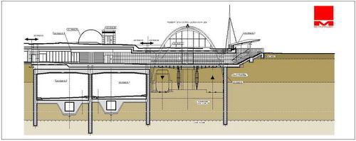 Příčný řez tunelem Blanka na Hradčanské, na snímku je složité křížení podchodu Metra a připravovaného rozšíření Buštěhradské dráhy na letiště a Kladno
